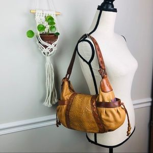 Fossil leather floral brown hobo bag purse